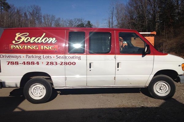Gordon Paving asphalt paving van